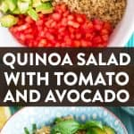 image collage for quinoa salad with text overlay