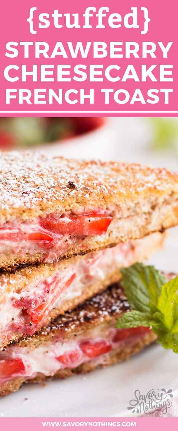 This Healthy Cream Cheese Strawberry Stuffed French Toast is the easy Sunday family breakfast recipe we keep coming back to! It is homemade with whole wheat bread, low fat cream cheese, strawberry slices and maple syrup. The crunchy cinnamon coating makes it the perfect simple brunch sandwich for kids. We especially love how fluffy it turns out while still counting as a healthy option - the best of both worlds! Click through now to get the full instructions to make the best stuffed french toast!