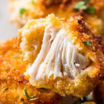 close up photo of halved chicken nugget
