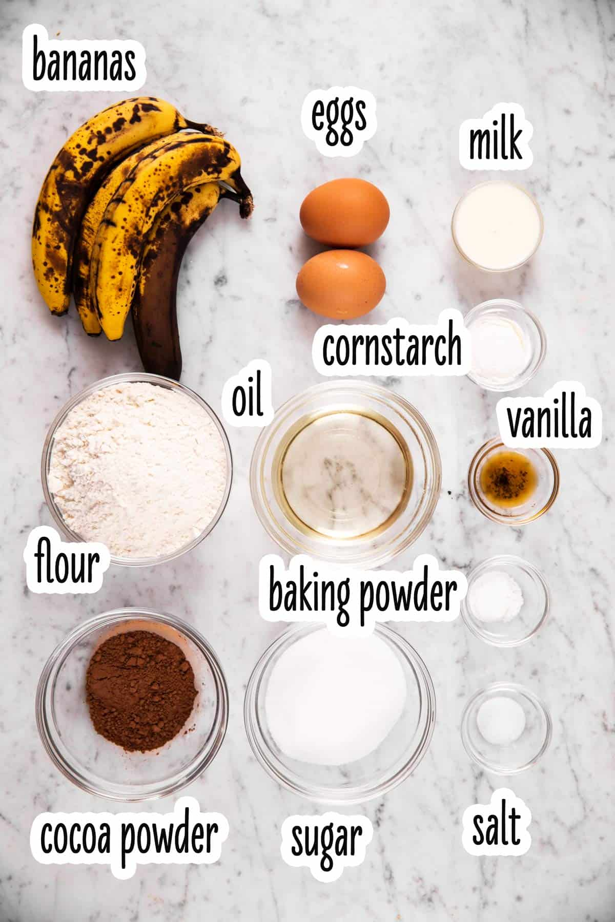 ingredients for chocolate marble banana bread with text labels