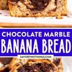 Chocolate Marble Banana Bread Image Pin