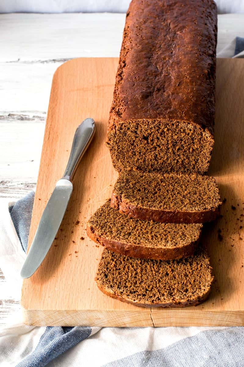 frontal view on sliced Dutch honey cake
