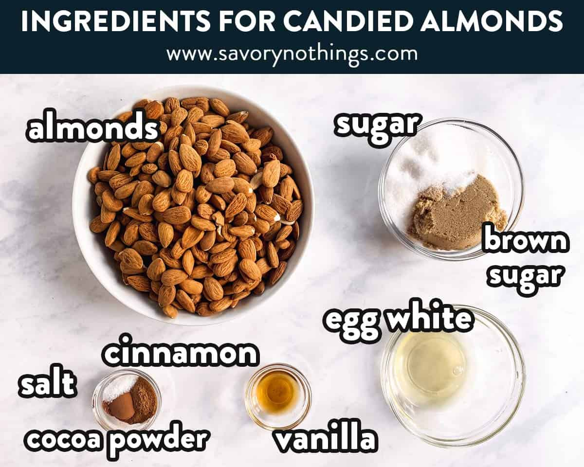 ingredients for candied almonds with text labels