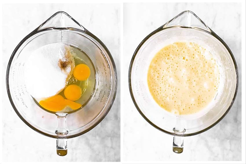 photo collage to show how to cream sugar and eggs