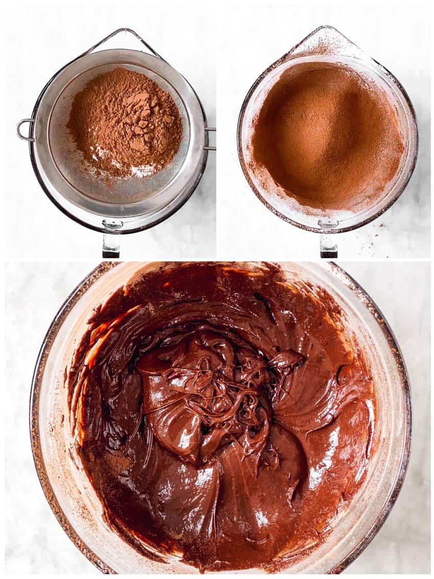 photo collage to show how to make brownie batter