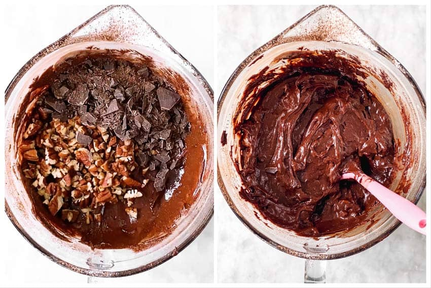 photo collage to show how to fold pecans and chocolate chunks into brownie batter