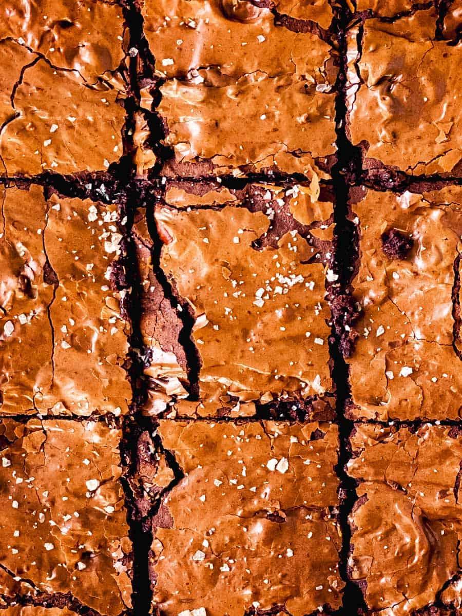 overhead view of cut brownies