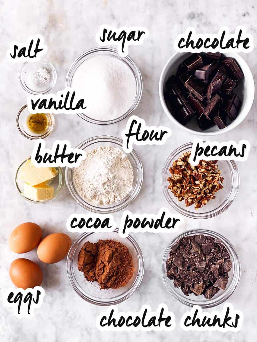 ingredients for brownies with text labels