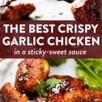 """image collage of crispy garlic chicken with text overlay """"the best crispy garlic chicken"""""""