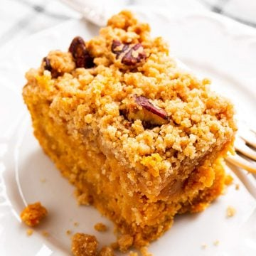 top down view on slice of sweet potato coffee cake