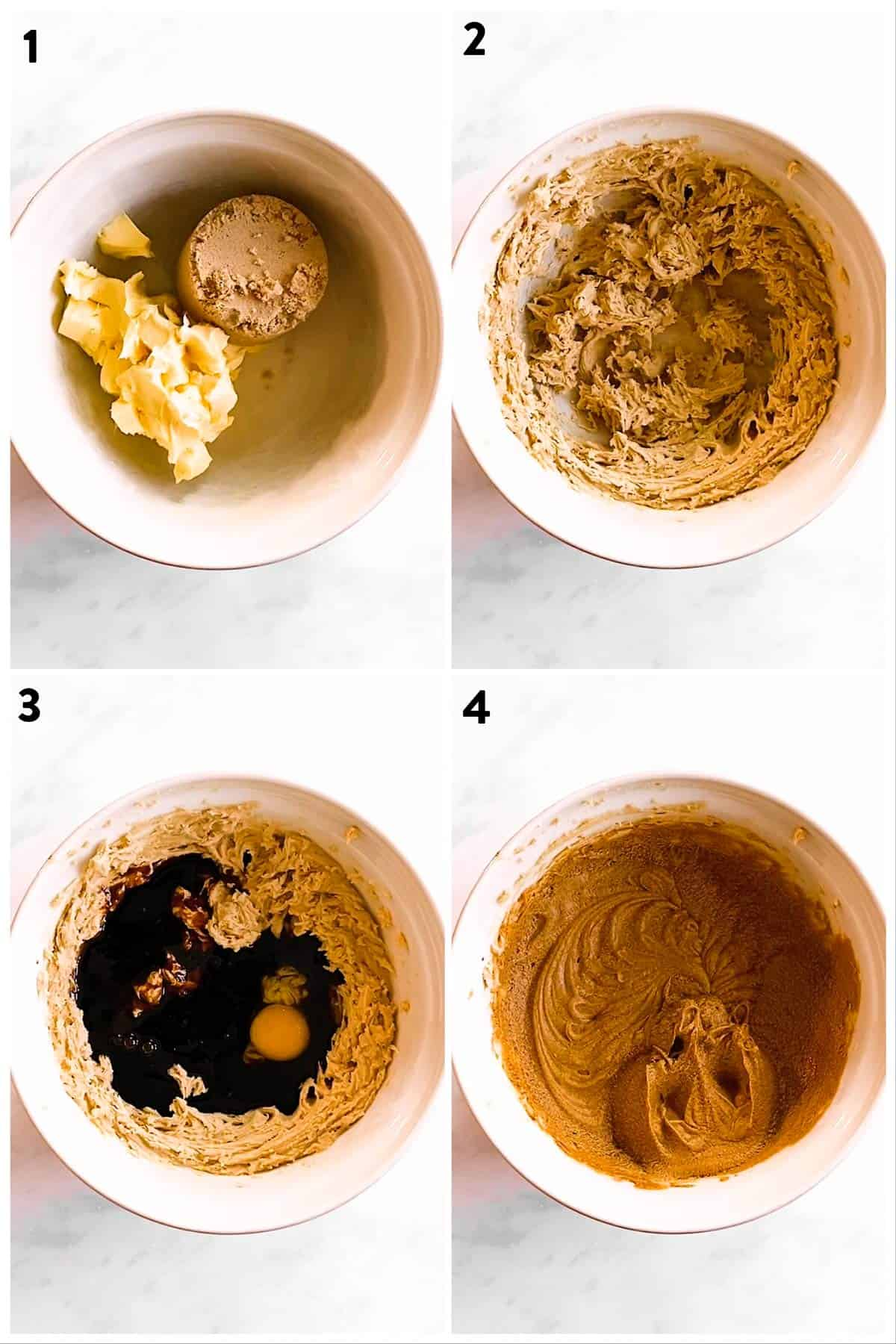 collage of photos to show creaming wet ingredients for gingerbread cookie dough