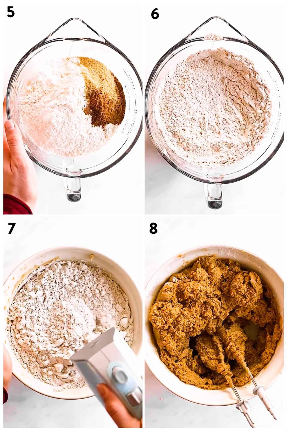 collage of photos to show how to mix dry ingredients to make gingerbread cookie dough