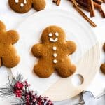 gingerbread man cookie on a platter