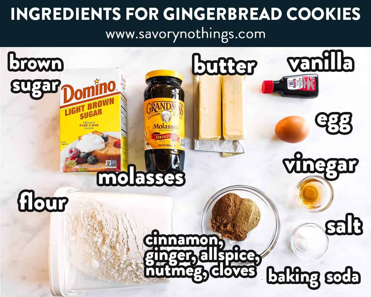 ingredients for gingerbread cookies with text labels