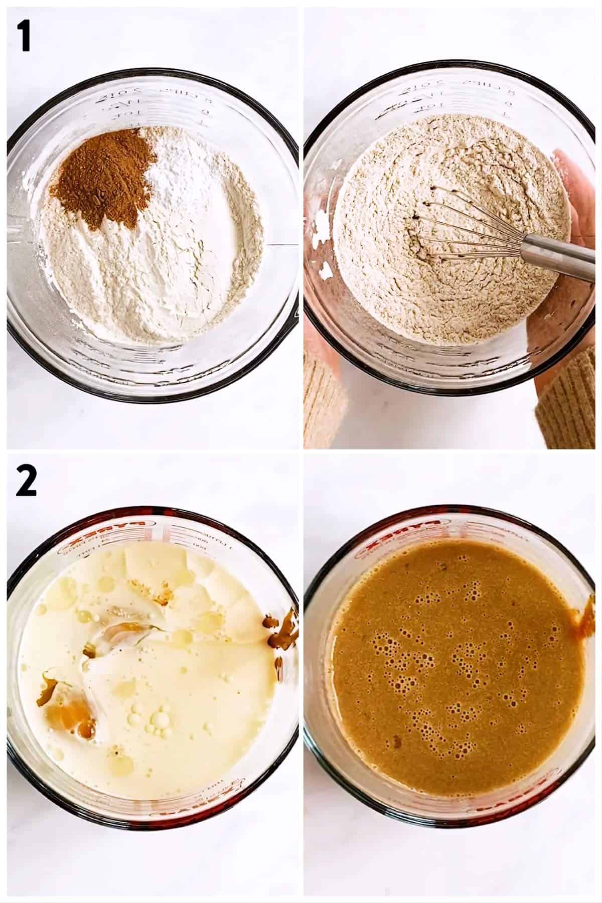 collage of photos to show separate combining  of dry and wet ingredients to make gingerbread pancakes