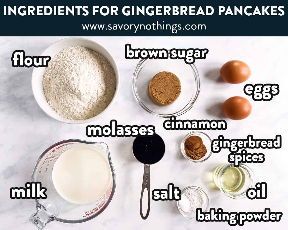 ingredients for gingerbread pancakes with text labels