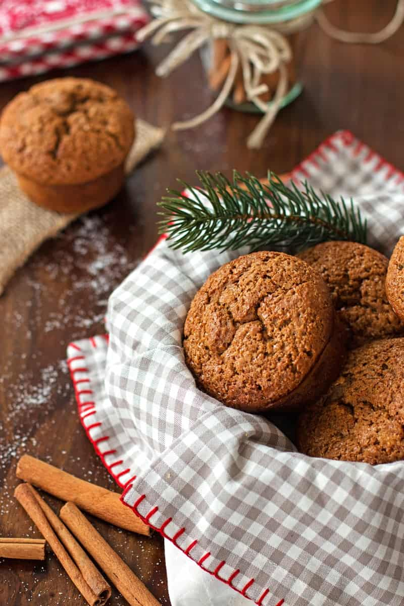 Healthy Triple Ginger Gingerbread Muffins