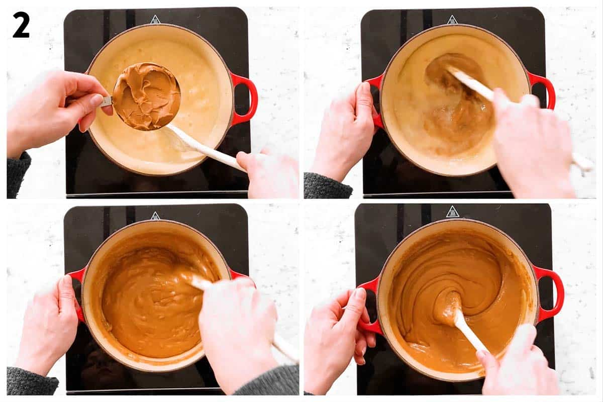 photo collage to show how to make mixture for cookie butter fudge