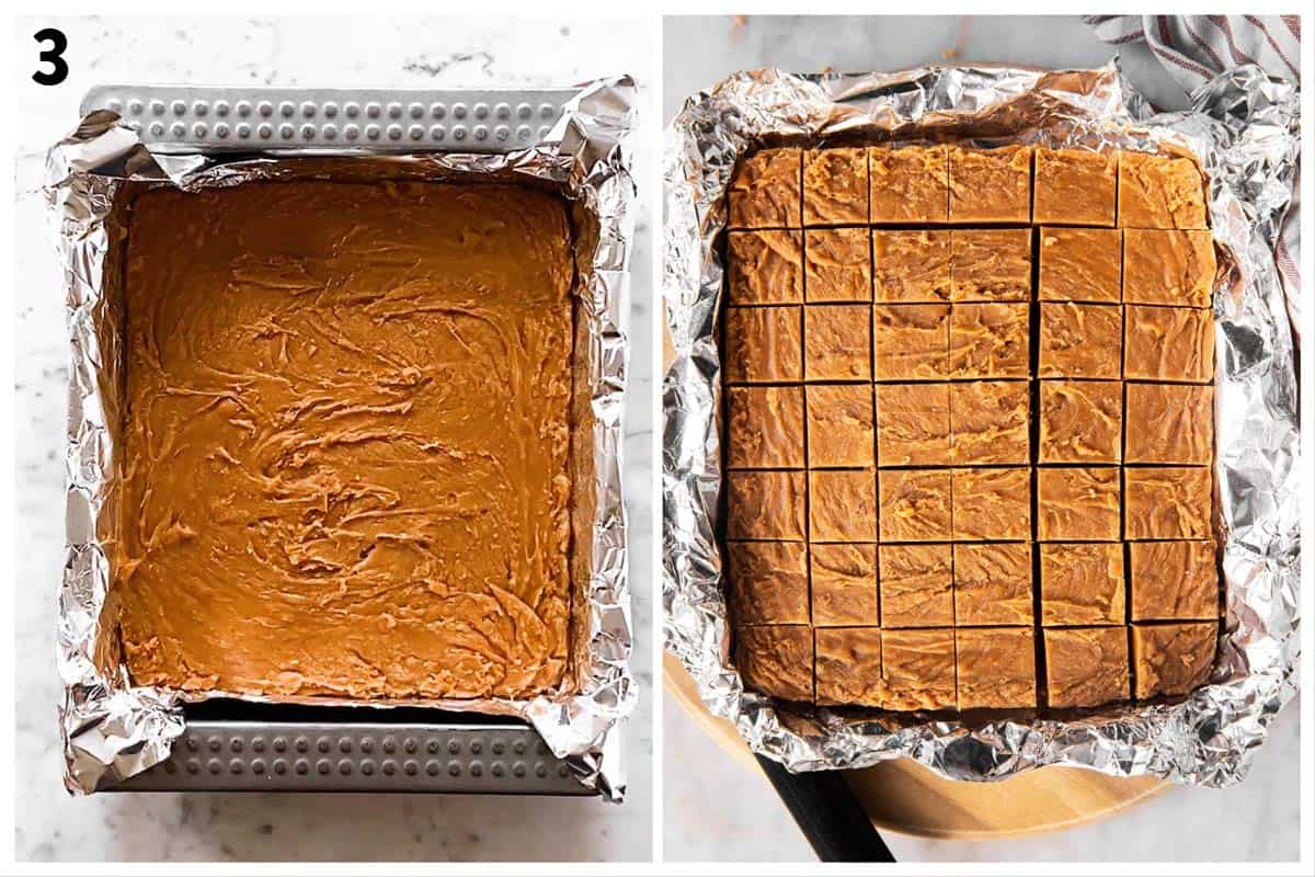 photo collage to show how to slice cookie butter fudge into squares