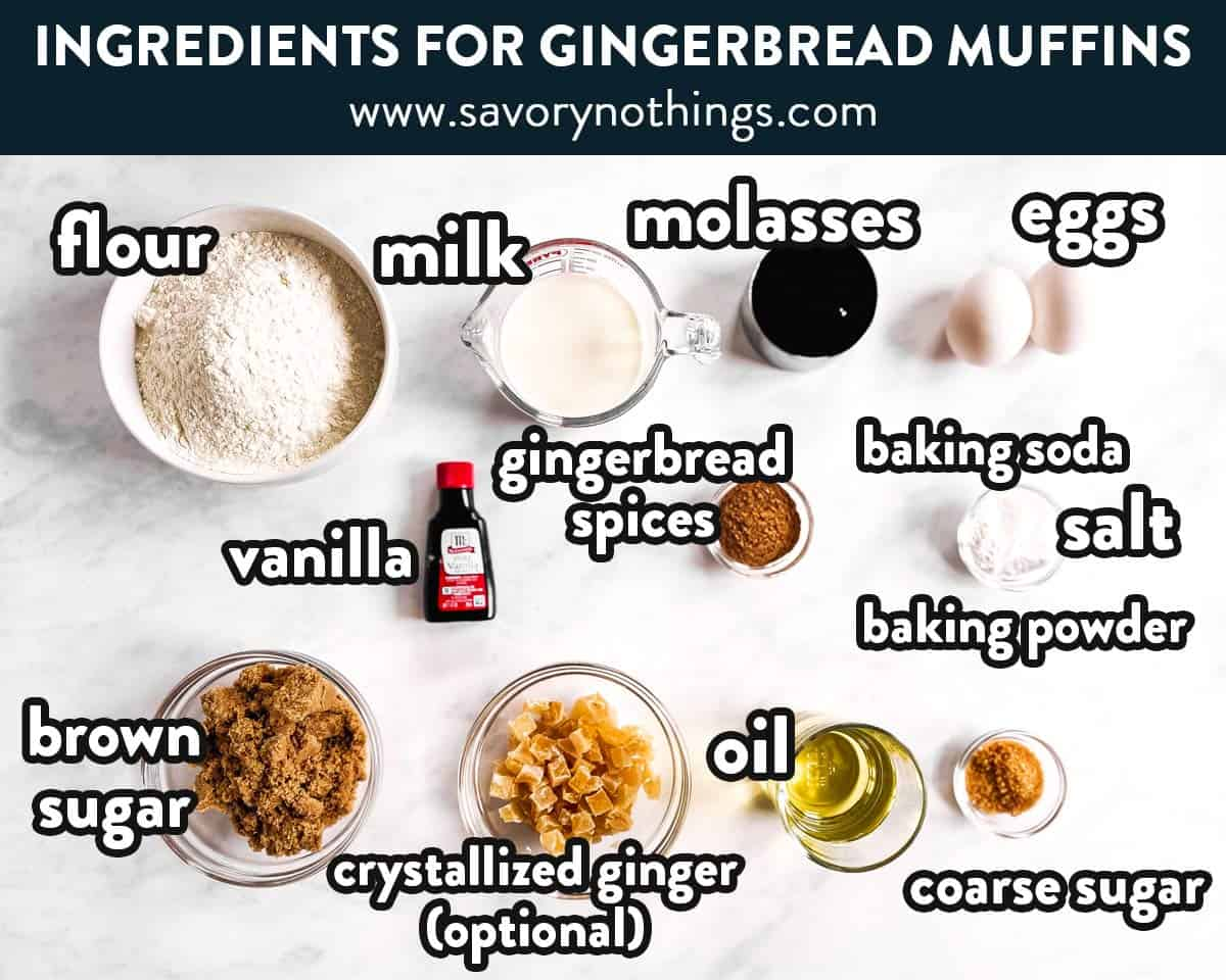 ingredients for gingerbread muffins with text labels