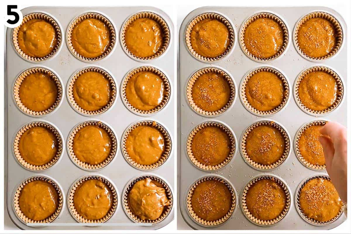 collage of photos to show how to add muffin batter to muffin pan