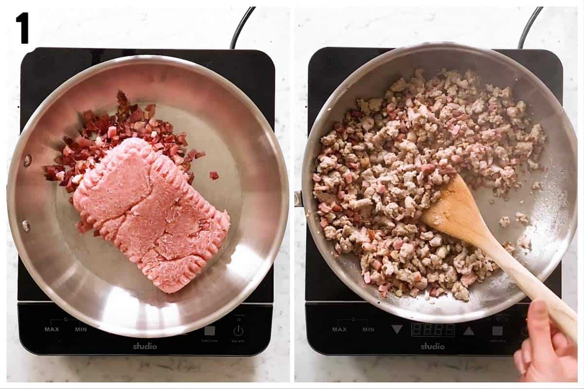 photo collage to show how to brown bacon and sausage in a skillet