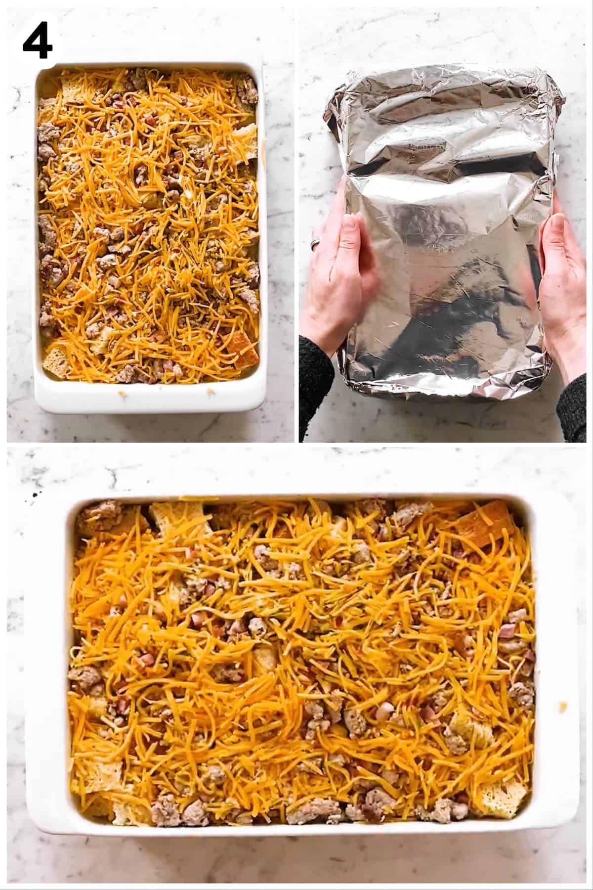 photo collage to show how to refrigerate an overnight breakfast casserole