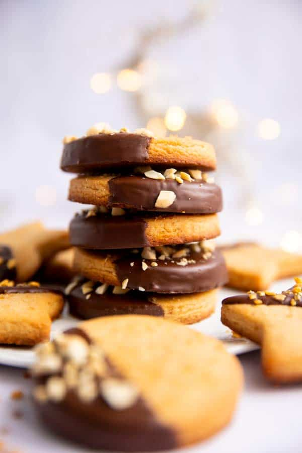 stack of shortbread cookies with chocolate