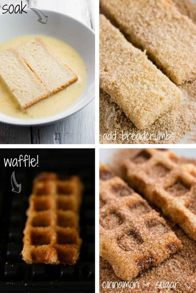 step by step photos to make french toast waffles