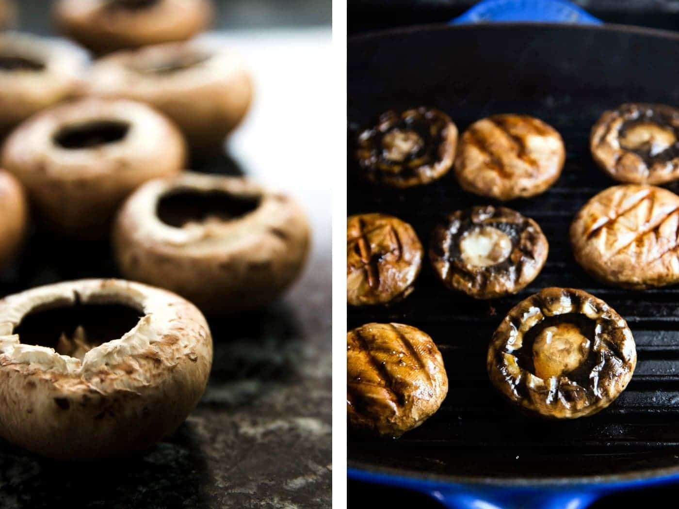 collage of images to show raw mushrooms turned into grilled mushrooms