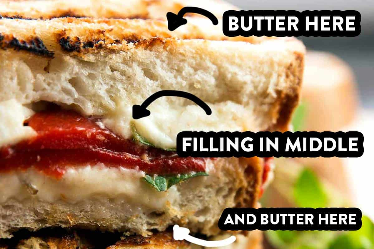 """close up of grilled cheese with mushrooms, with text overlays """"butter here"""", """"filling in middle"""", """"and butter here"""""""