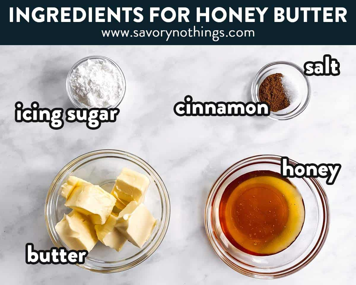 ingredients for honey butter with text labels