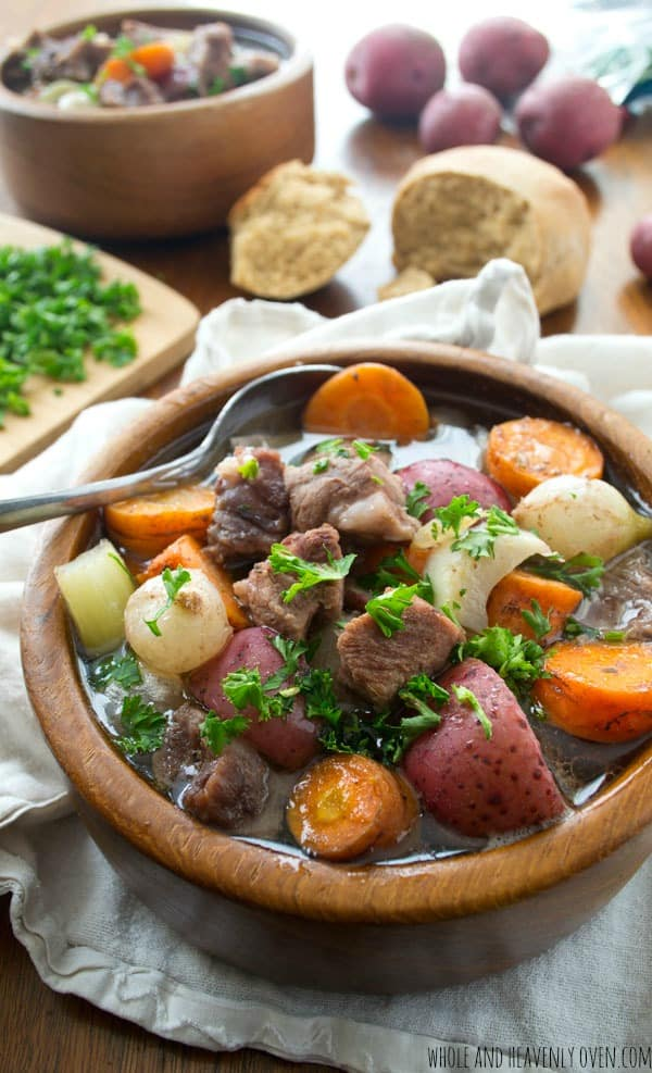beef stew in wooden bowl