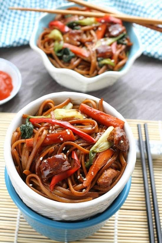 two bowls with lo Mein