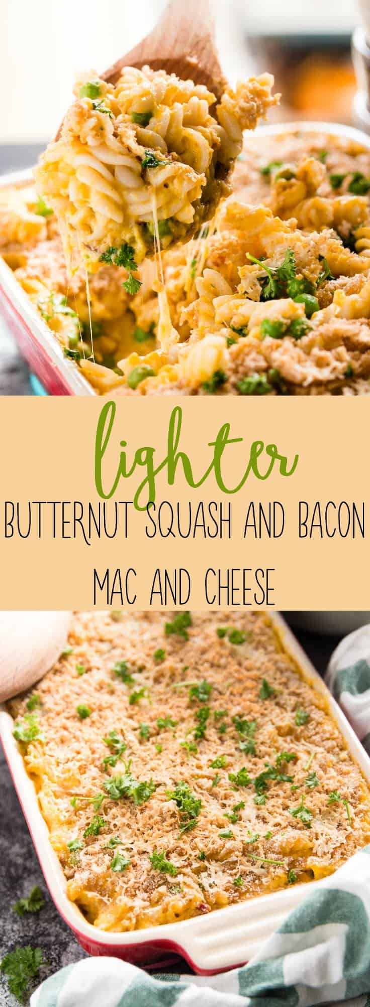 This is a wonderful fall flavored and Healthy Butternut Squash Mac and Cheese recipe - complete with bacon! | savorynothings.com
