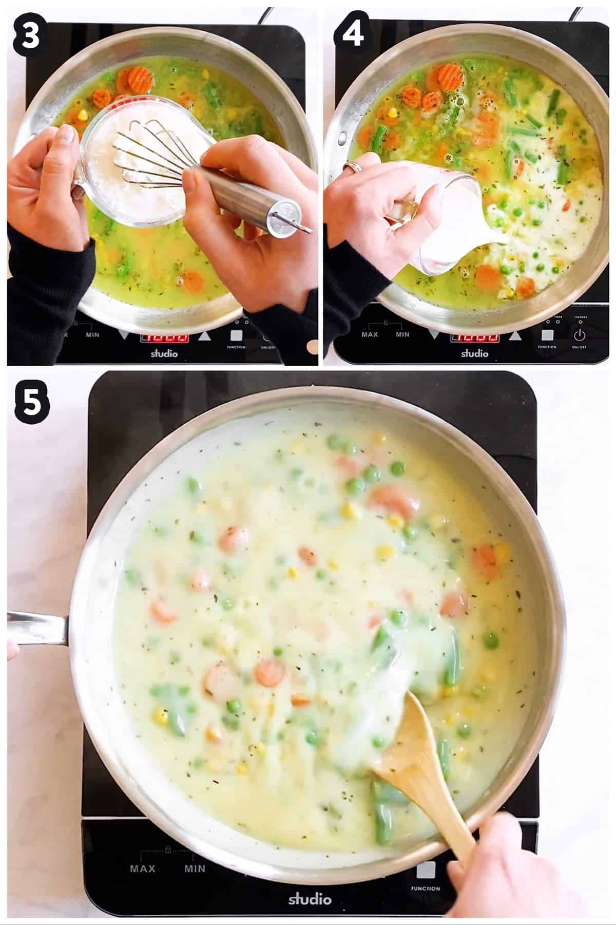 collage of steps to show thickening gravy for pot pie