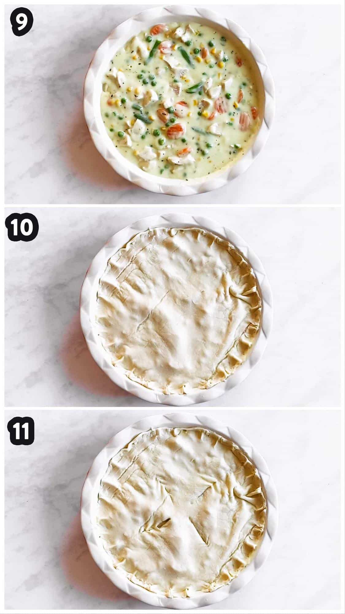 collage of photos to show steps of assembling a turkey pot pie in a pie plate