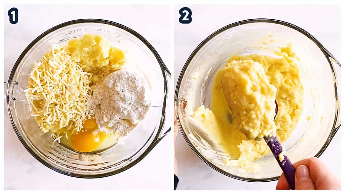 collage to show making batter for potato pancakes
