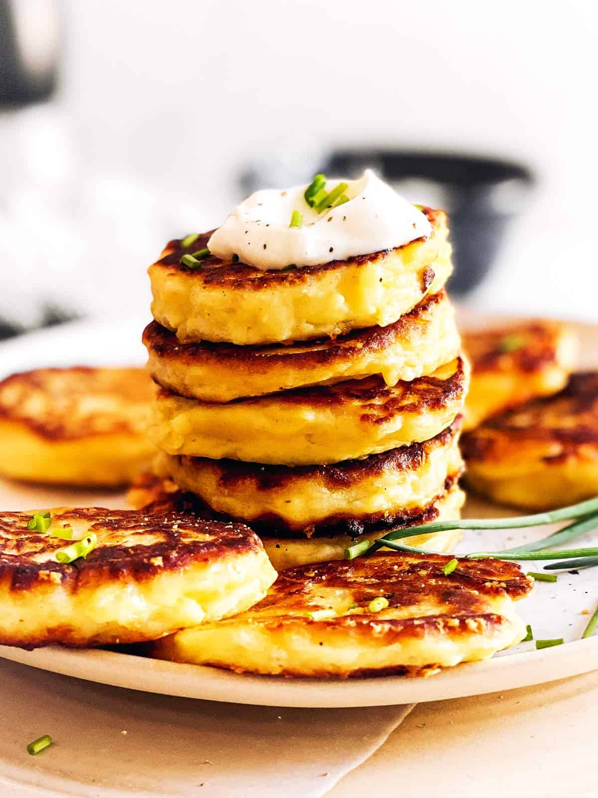 stack of potato pancakes on plate