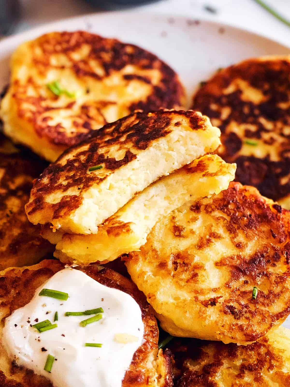 close up of halved potato pancake