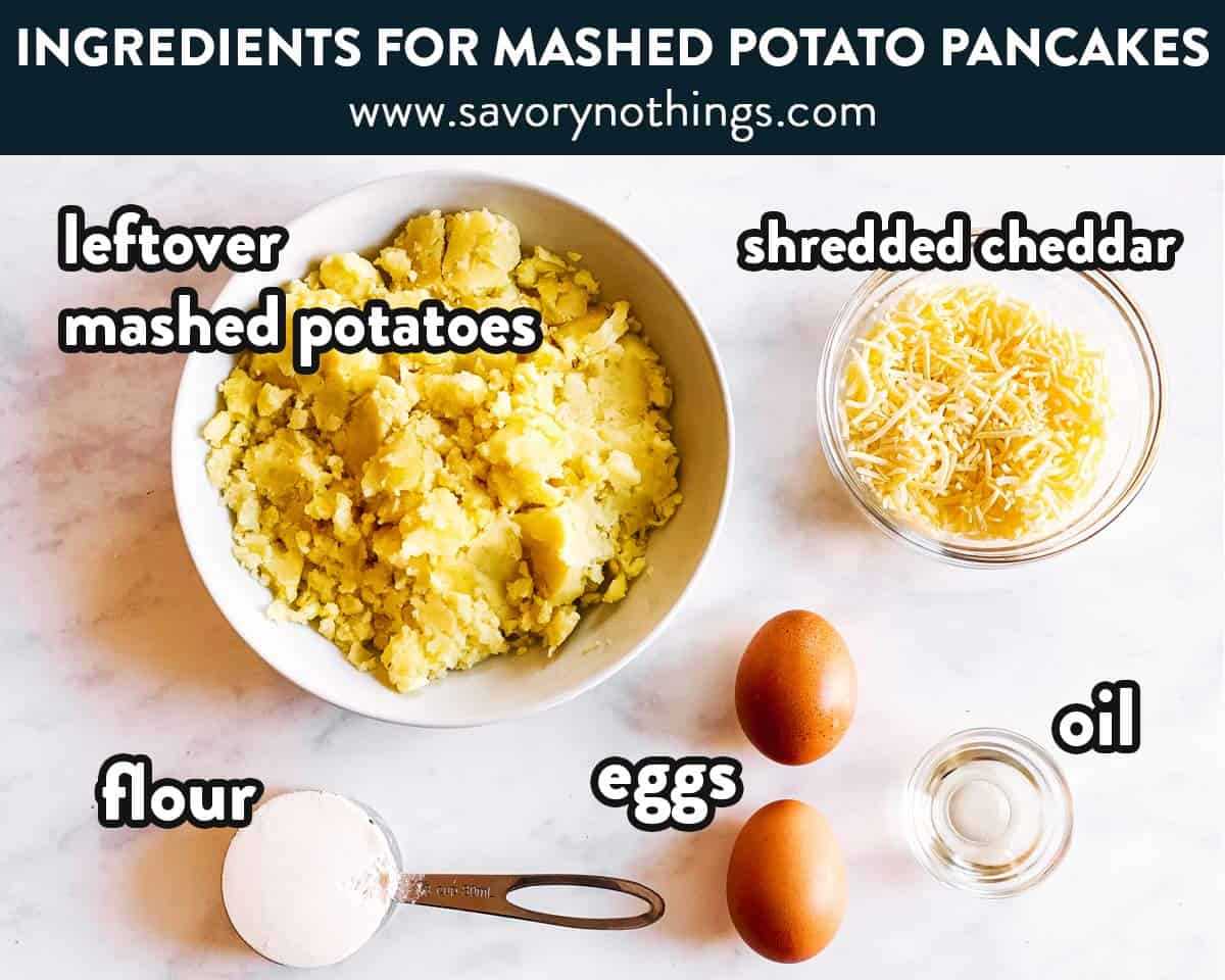 ingredients for mashed potato pancakes with text labels