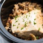 This slow cooker turkey breast with cranberry apple wild rice is a simple fall dinner that only requires 5 minutes prep time! You could even serve it to a small family on Thanksgiving!   savorynothings.com