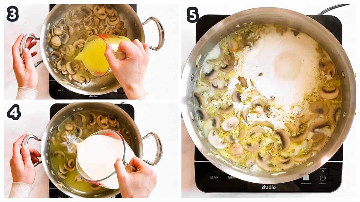 collage of photos to show how to make the sauce for turkey tetrazzini
