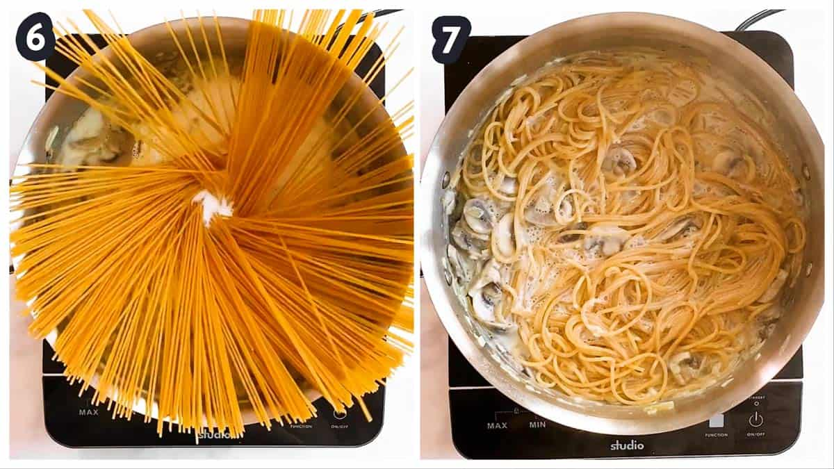 collage oh photos to show first uncooked, then cooked spaghetti in a dish of turkey tetrazzini