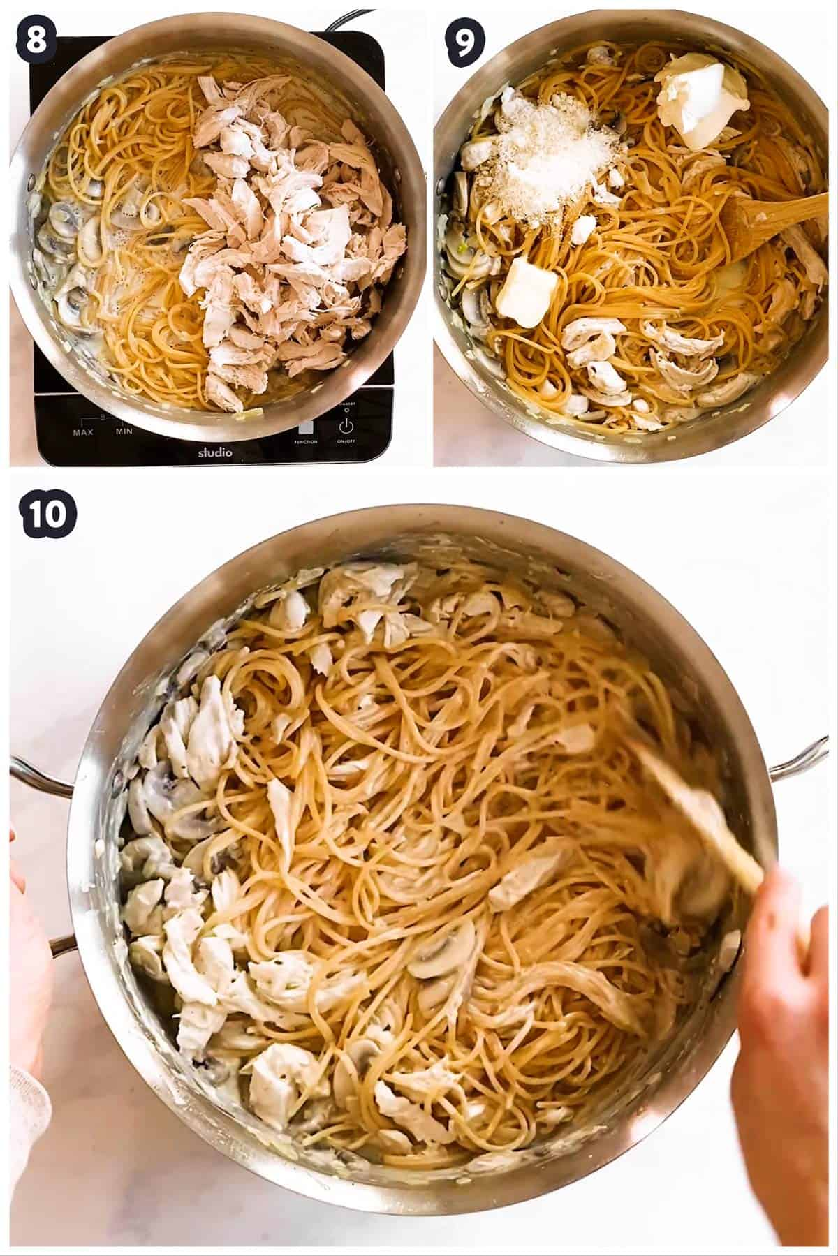 collage of photos to show how to assemble a dish of turkey tetrazzini
