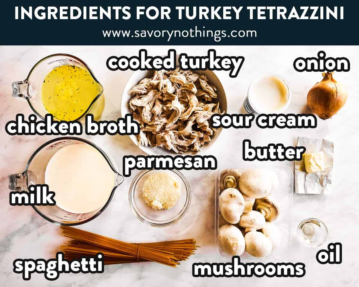 ingredients for turkey tetrazzini with text labels