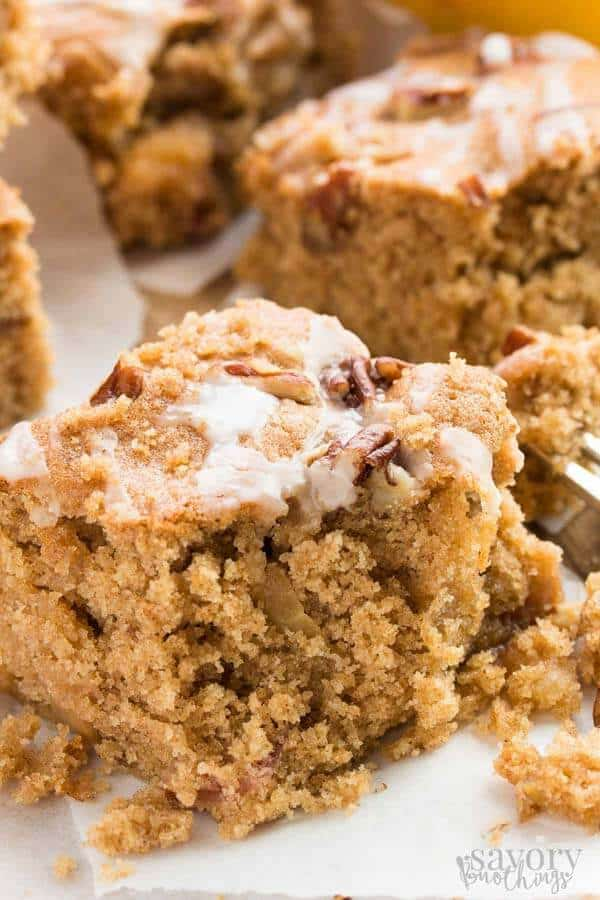 These glazed apple cake bars are full of cinnamon flavors, great for fall! They're really easy to make, and are so healthy with whole wheat flour and fresh apples!