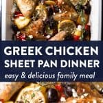 photo collage of greek chicken sheet pan dinner with text overlay