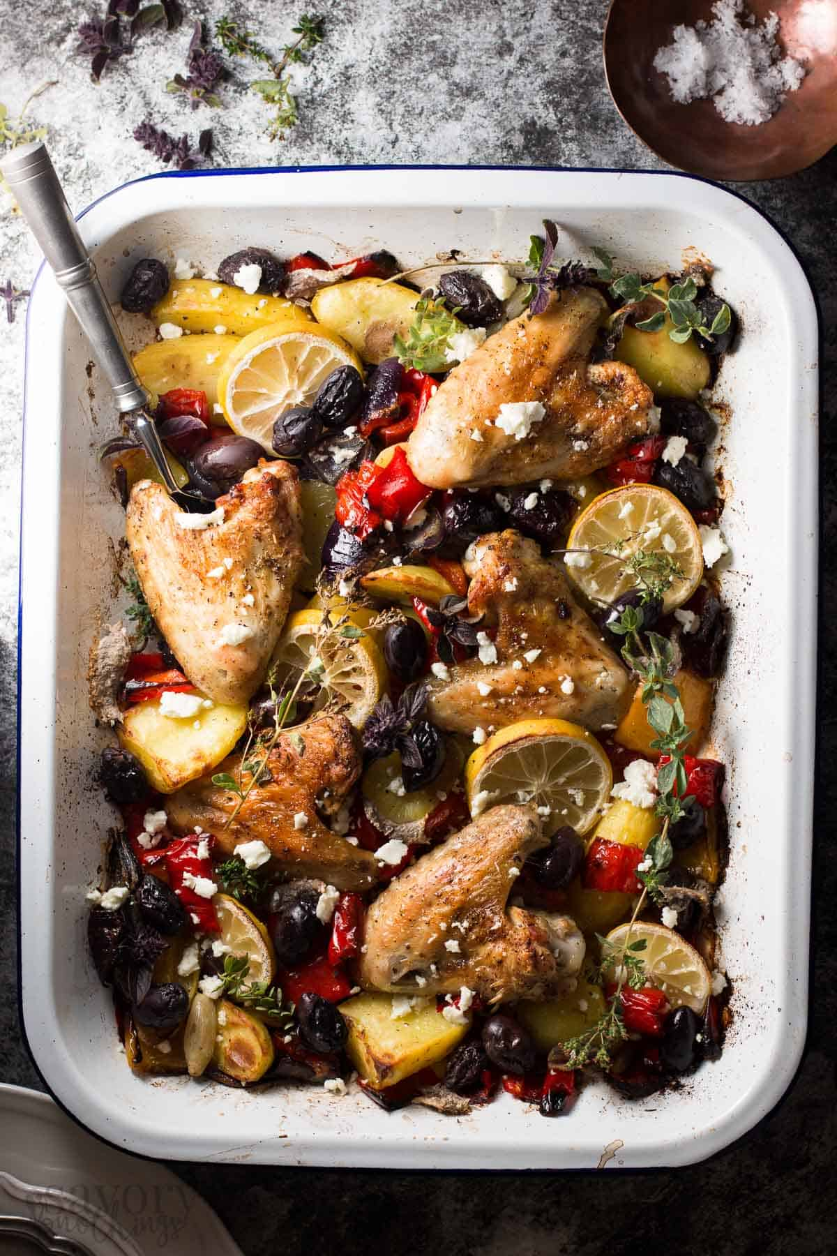 One Sheet Pan Greek Style Easy Baked Chicken Dinner