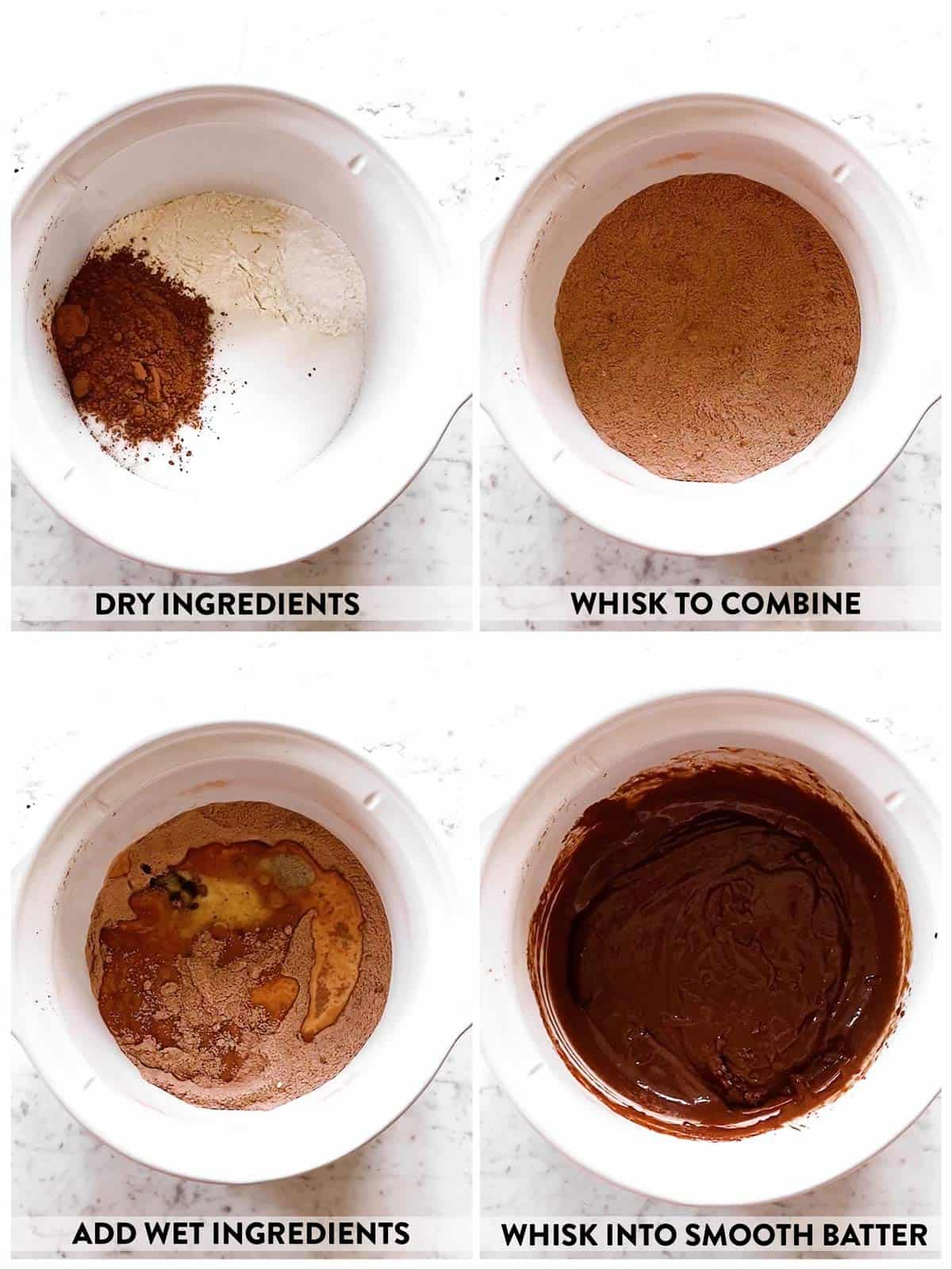 photo collage to show how to make batter for chocolate pudding cake